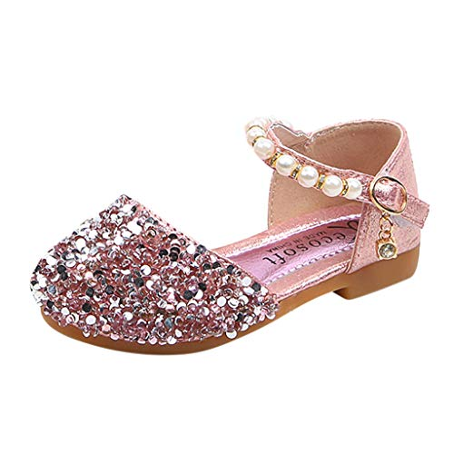 Haalife◕‿ Kids Girls Sequin Dance Sandal Round-Toe Sparkle Ballet Ballerina Flat Shoes Soft Sole First Walker Crib Shoes Pink]()
