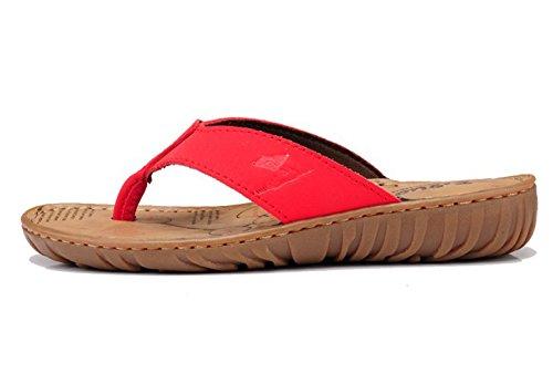 Insun Damen Sandalen Zehentrenner Normal Flach Ohne Verschluss Pantoletten Sandaletten Rot