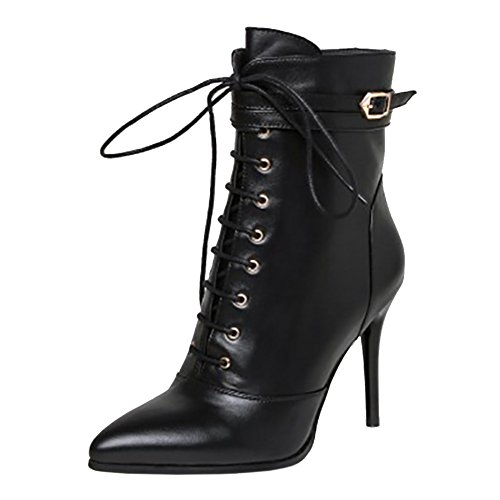 MERUMOTE Thin High Heels Shoes Leather Ankle Boots 2017 Winter Spring Sexy Booties Black