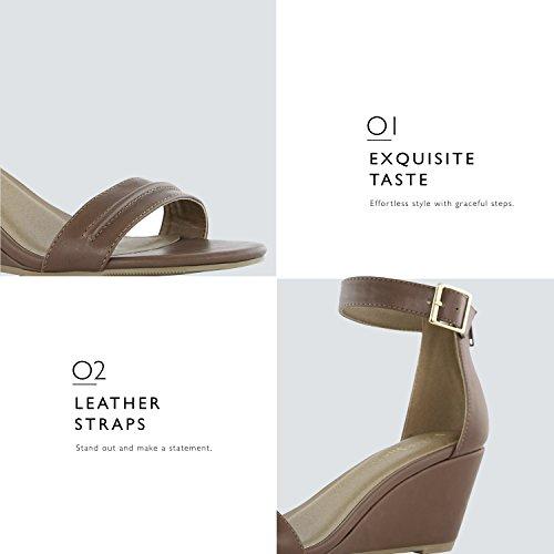 Dailyshoes Kvinners Sommer Fashion Design Ankelen Stropp Spenne Lav Kile Plattform Hæl Sandaler Sko Kamel Pu