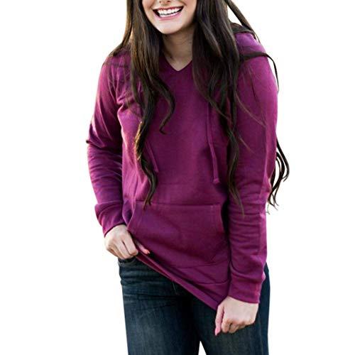large Unie Couleur Chemisier Rose Rue Poche Chandail Manches Casual Taille Tops Longues X Zhrui Couleur Tuniques Ladies Vêtements Sweatshirt Lâche Femmes wY11R0