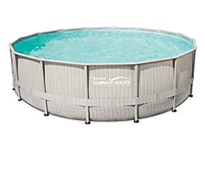 Summer Waves P4B02048B0US 20FT Light Wicker Print Elite Frame above Ground Pool, 20 Foot
