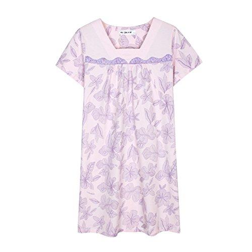 Verano manga corta impresión floral algodón camisón/ pijamas de las señoras finas B