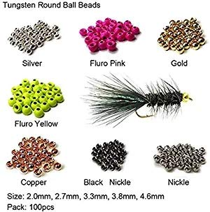 Aventik Think Fast Think Deep 100pc Tungsten Beads Round Ball Beads Fly Tying Materials 7 Colors 5 Sizes Fly Fishing Nymph Streamer