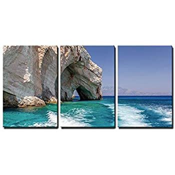wall26 3 Piece Canvas Wall Art - Blue Caves on Zakynthos Island, Greece - Modern Home Decor Stretched and Framed Ready to Hang - 16