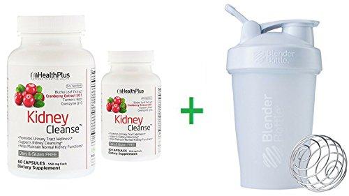 Health Plus Inc, Kidney Cleanse, 550 mg, 60 Capsules (2 Packs) + Sundesa, BlenderBottle, Classic With Loop, White, 20 oz