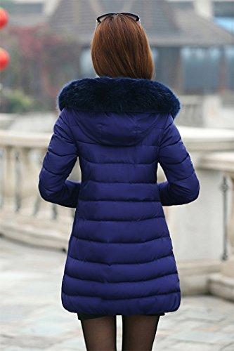 Yeesea con Parka Azul Invierno Jacket Mujer Espesar Abrigo de Collar Pelaje Capucha Chaqueta prpTxXw1