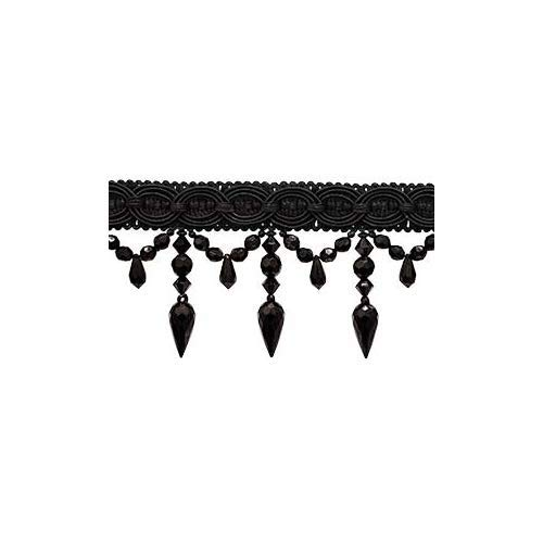 DÉCOPRO 3 Yard Package of Black 3.75 Inch Long Beaded Tassel Fringe, Style# BF334 Color: Black - K9 (3 Yards / 108
