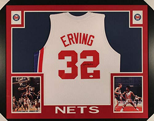 JULIUS ERVING AUTOGRAPHED NEW JERSEY NETS FRAMED WHITE SIZE XL JERSEY JSA