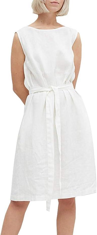 Deylaying Vestidos Casuales Verano, Mujer Algodón Lino Vestidos con Bolsillos Moda Color Sólido sin Mangas Vestidos Talla Grande: Amazon.es: Ropa y accesorios
