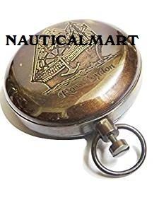 BRASS POCKET COMPASS PUSH BUTTON ~ PIRATE COMAPSS NAUTICALMART NauticalMart Inc