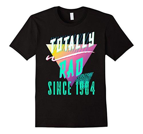 [Mens Totally Rad 80s Throwback T-Shirt - Funny 1984 Birthday Tee Large Black] (80s Aerobic Costumes)
