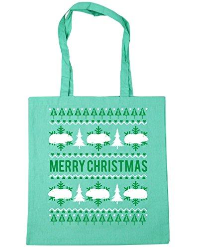 HippoWarehouse feliz Guinea Pig Christmas Tote Compras Bolsa de playa 42cm x38cm, 10litros verde menta