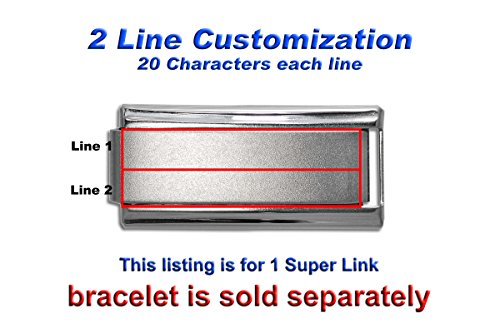 Customize Laser Etched Italian SUPER Charm Link - Two Lines (Single Charm)