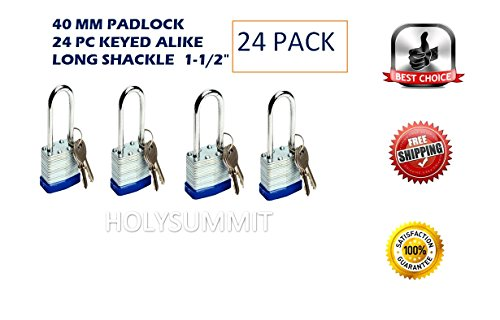 24 PC Piece Set 40 MM Dynamite Locks Long Shackle Laminated Padlock Keyed Alike Commercial Grade Padlocks Keyed Alike same a like (Pack of 24) (Padlock Keyed Shackle)