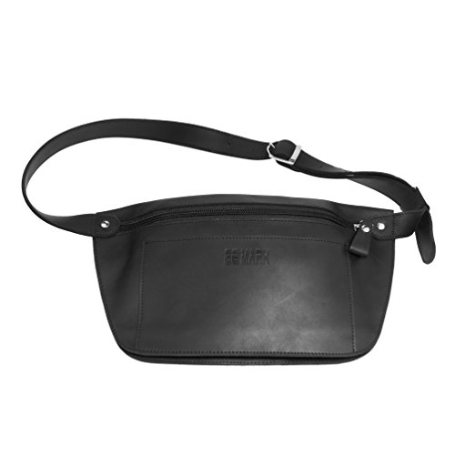 Leather Belt Bag - Leather Belt Bag - Genuine Waist Bag - Fanny Pack - for Man Woman by GE MARK (black)