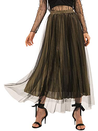 Amormio Women's Glittery Gold/Silver High-Waist Metallic Accordion Pleated Formal Party Maxi Skirt (Tulle-Gold, -