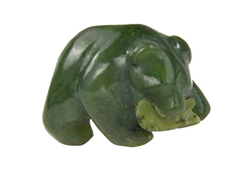 Fundamental Rockhound Products: Carved Bear Green Jade with fish hand carved gemstone crystal with information card (Animal Carving Gemstone)