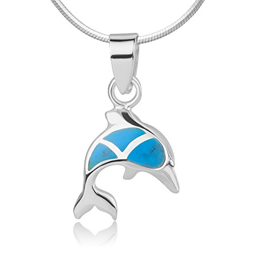 925 Sterling Silver Jumping Little Dolphin Fish Blue Resin Inlaid Pendant Necklace w/Chain 18""