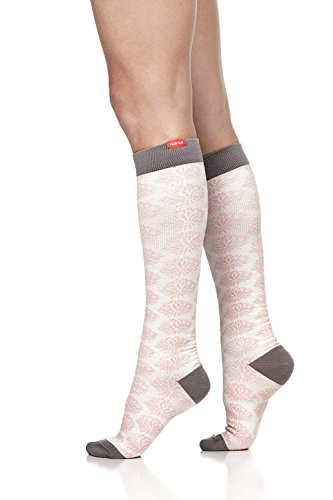 VIM&VIGR Women's 15-20 mmHg Compression Socks: Mum's Floral - Dusty Pink & Cream (Cotton) (Wide Calf) (Cream Floral Pink)