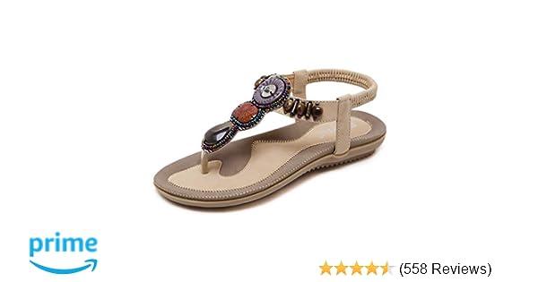 436e0d82ccd SHIBEVER Summer Flat Gladiator Sandals for Women Comfortable Casual Beach  Shoes Platform Bohemian Beaded Flip Flops Sandals