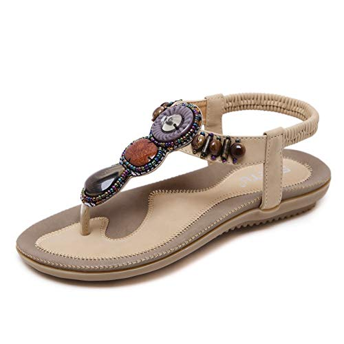 Gladiator Flat Sandals Heel - SHIBEVER Summer Flat Gladiator Sandals for Women Comfortable Casual Beach Shoes Platform Bohemian Beaded Flip Flops Sandals Apricot 8