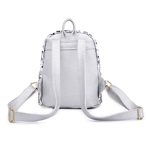 Backpack Travel Sequins Fashion Bags White Winkey Women School Backpack Tie Girls Bag Bow Silver Shoulder Satchel nBxRCPtw8q