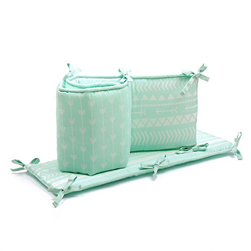 Mint Green Tribal and Arrows Baby Crib Bumper - Native American Design Di Menta Mint