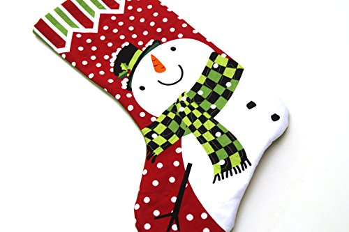 (Christmas Snowman Quilted Fabric Stocking)