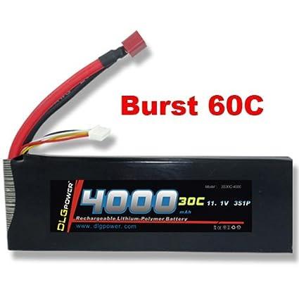 Amazon.com: dlg 30 C Burst 60 C 3S 4000 mAh 11.1 V Lipo Li ...