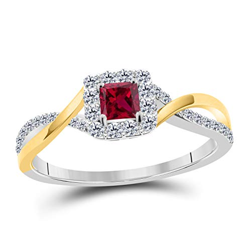 Silver Gems Factory Womens Princess Cut Cubic Zirconia Infinity Twisted Engagement Promise Ring 14K Two-Tone Gold Plated Alloy Princess Cut CZ Ruby Solitaire Ring ()