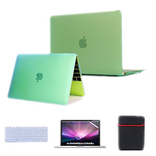 Se7enline 4 in 1 Case for Apple MacBook Model A1534 MK4M2LL/A 12-Inch Laptop with Retina Display 2015 NEWEST VERSION Rubberized Frosted Soft Touch See Thru Hard Shell Case Cover for Macbook 12'' inch Retina Display , AquaGreen/Seafoam Green+Transparent Clear Silicone Keyboard Protector+ Clear LCD Screen Protector +Soft Sleeve Protective Bag