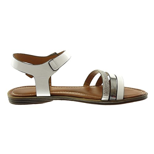 Angkorly Damen Schuhe Sandalen - Knöchelriemen - Strass - Multi-Zaum - String Tanga Blockabsatz 1.5 cm Weiß