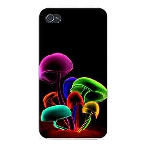 Apple Iphone Custom Case 4 4s White Plastic Snap on - Neon Colorful Mushrooms on Black