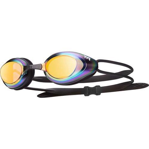 TYR Black Hawk Racing Mirrored Goggles, Gold Metal Rainbow Black, One Size