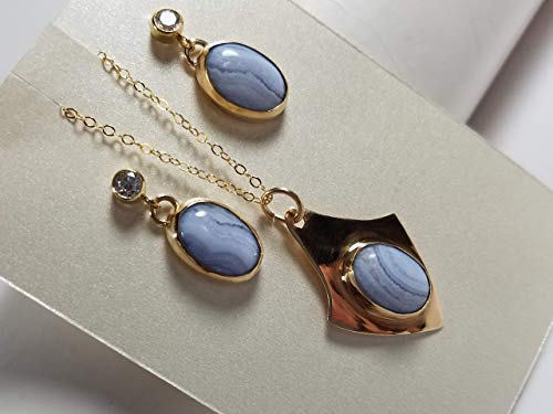 Lacy Blue Agate 14K Gold Fill Necklace and Earrings Set