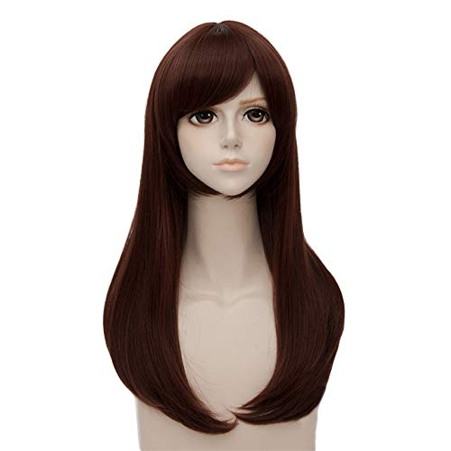 MUZI WIG D.VA Cosplay Wig, Women Long Brown Cosplay Wig Synthetic Hair Halloween Costume Party Play Wigs]()