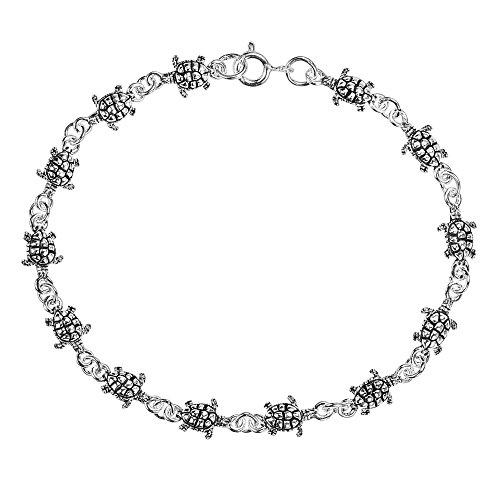 Sterling Sea Turtle - AeraVida Cute Mini Sea Turtle-Turtles .925 Sterling Silver Link Bracelet