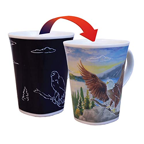 Color Changing Mug - Soaring Eagle Story - Large 16 Ounce - Porcelain