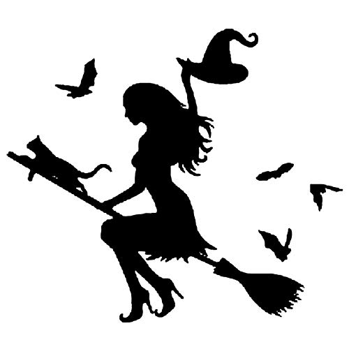 Brave669 Clearance Deals!!Witch On Flying Broom Car Auto Sticker Bumper Window Laptop Halloween DIY Decal Black ()