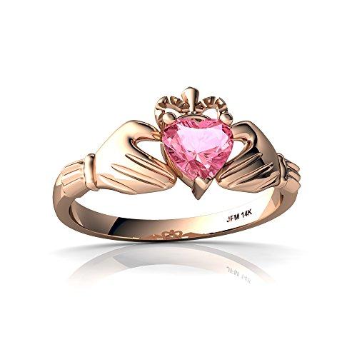 14kt Rose Gold Lab Pink Sapphire 5mm Heart Claddagh Ring - Size 6 Claddagh Pink Sapphire Ring
