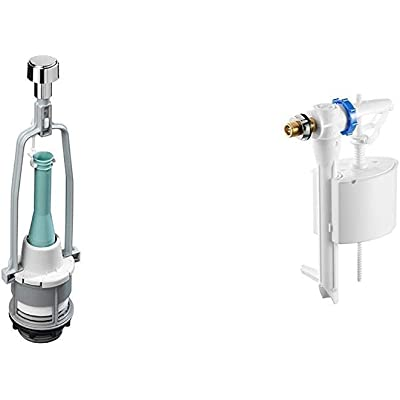 roca A822502200 Mecanismo de descarga simple con 4 pulsadores Blanco & A822502400 Mecanismo de alimentación lateral con rosca metálica Blanco