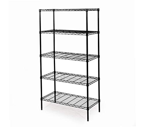 Home Décor Premium 5-Tier Black Epoxy Steel Wire Shelving 30