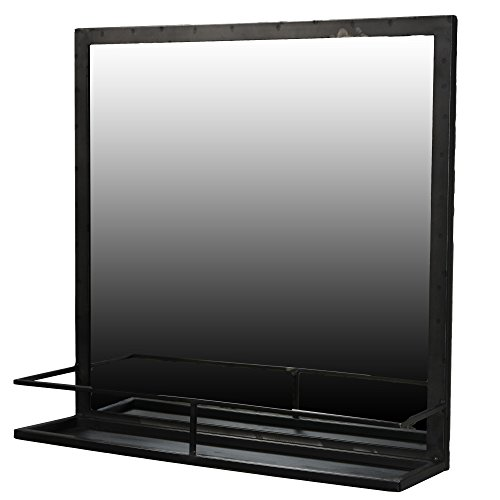 "22"" Iron Framed Wall Mirror With Shelf 