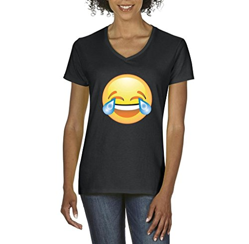 Xekia Emoji Laughing Tears Women's V-Neck T-Shirt Tee XX-Large Black