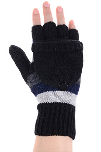 BYOS Women Winter Cute Striped Wool Blend Convertible Fingerless Flip over Knit Mitten Gloves Combo w/ Touchscreen Compatible on Thumbs (Multi Black Stripes) (Striped Convertible Glove)