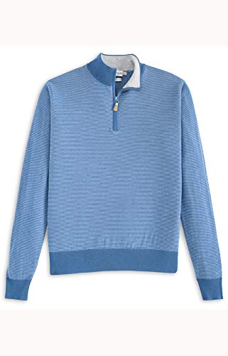 PETER MILLAR Crown Soft Striped Cotton and Silk Quarter-Zip Sweater (S, Tahoe Blue) ()