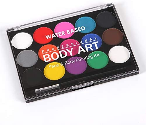 Febbya Face Paint Palette Professional Body Paint Set With Brush Washable Facepainting Non Toxic Water Based Body Art For Halloween Party Holiday Makeup Amazon Co Uk Kitchen Home