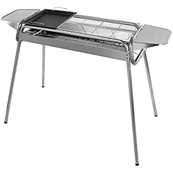 WolfWise Portable Folding Stainless Steel Charcoal Grill with Grill Pan Party Grill Cookouts BBQ for Camping Hiking