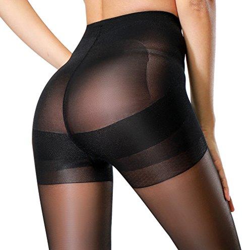 Opaque Sheer Pantyhose (HONENNA Semi Opaque Tights Shaping Control Top Push Up Semi Sheer Pantyhose (Black, Medium))